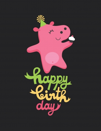 happy birthday girl: cute happy birthday card with fun hippo  vector illustration Illustration