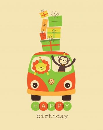 honoring: fun happy birthday card design.
