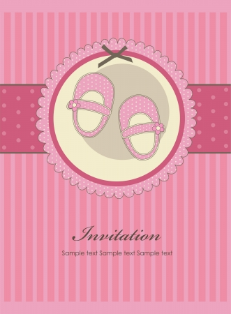 nice baby girl shoes arrival card illustration Vector