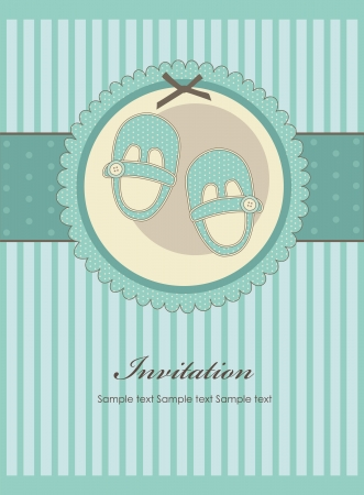 nice baby boy shoes arrival card illustration Vector