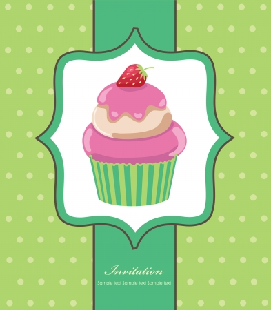 cute invitation background with cupcake illustration Vector