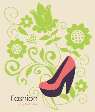 fashion background with feminine shoe illustration Vector