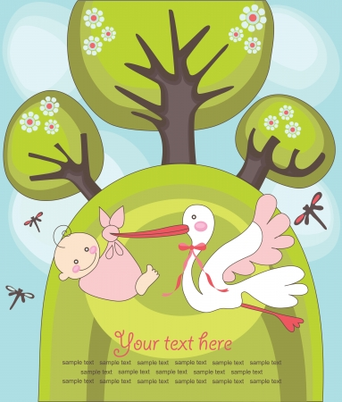 baby announcement card. illustration Vector