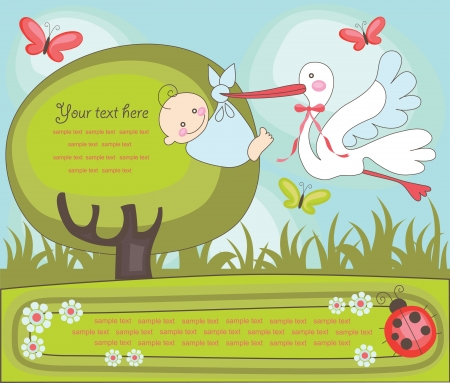 baby announcement card illustration Vector