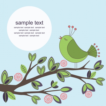 ornamental shrub: cute greeting card with bird illustration