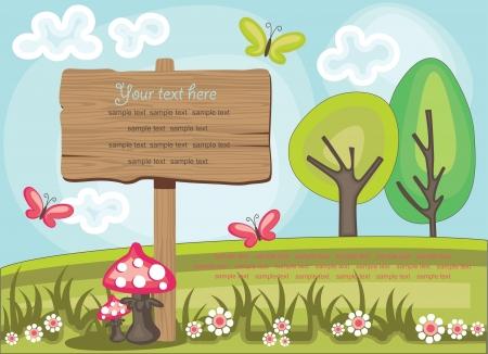 nature scenery: wooden board over cute nature scene illustration