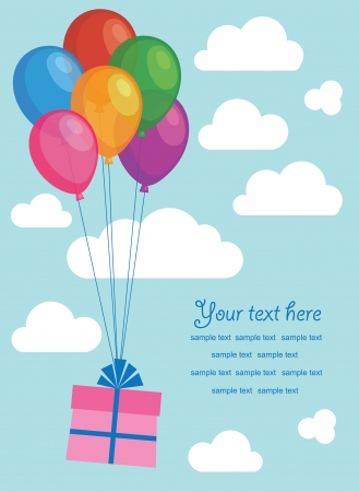 gift with balloons over blue sky illustration Vector