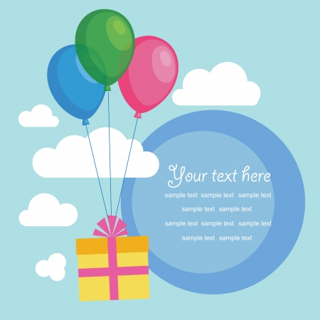 gift with balloons. cute frame design illustration Vector