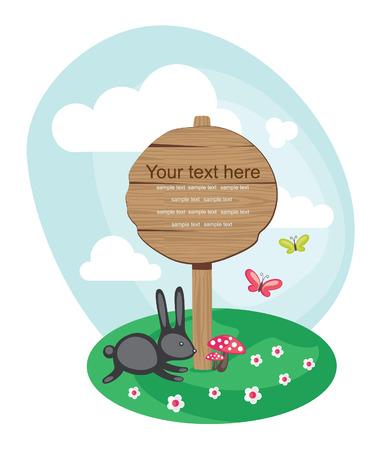 pane: wooden board over cute nature scene illustration