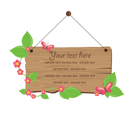 wooden board with convolvulus illustration Vector