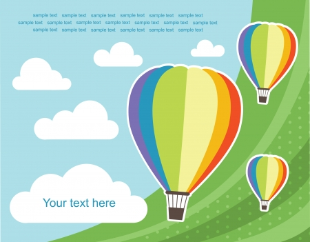 hot frame: abstract background with air balloon illustration Illustration