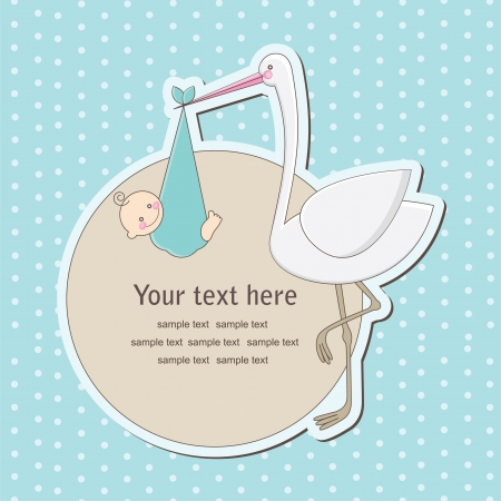 baby announcement card: baby boy announcement card. vector illustration