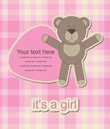 baby bear greeting card. vector illustration Vector
