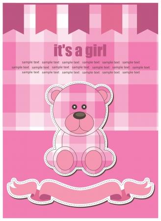 cute bear toy greeting card. vector illustration Vector