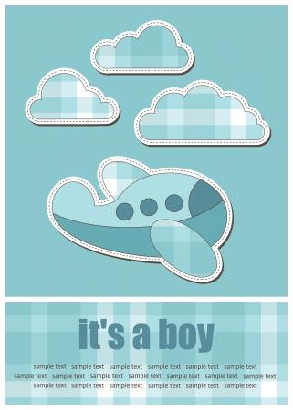 fiúk: baba üdvözlőlap. vektoros illusztráció