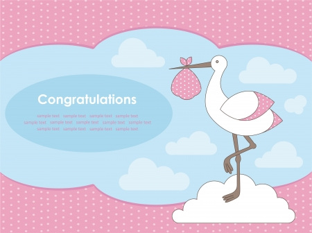 baby girl announcement card. vector illustration Vector