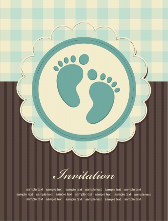 boy feet: baby boy announcement card. vector illustration