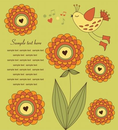 cute bird over flower. vector illustration Vector