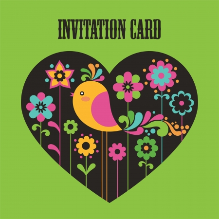 cute card with deco bird. vector illustration Vector