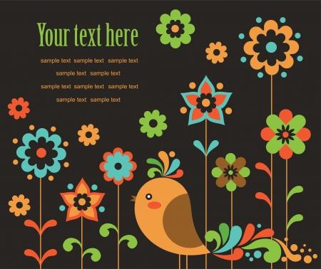 cute card with deco bird. vector illustration Illustration
