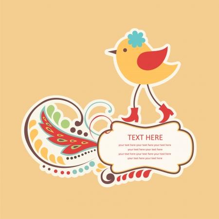 cute frame design with bird. vector illustration Vector