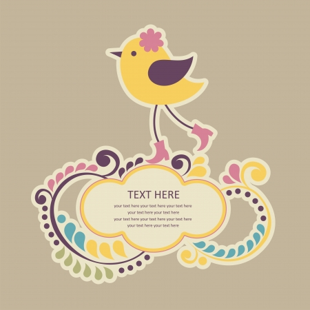 cute frame design with bird. vector illustration Vector