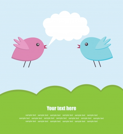 cute bird couple card design. vector illustration Vector