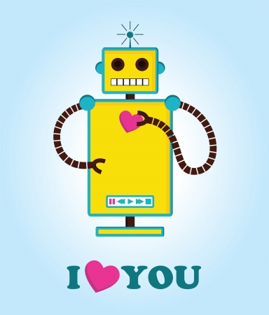 cute robot with heart. vector illustration Vector