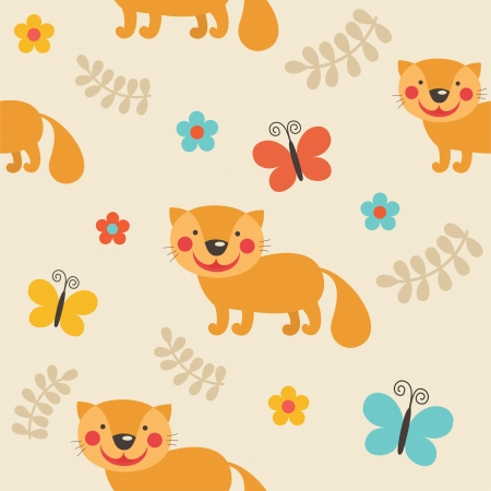 pattern with cute cat. vector illustration Vector