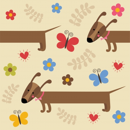 pattern with cute dog. vector illustration Vector