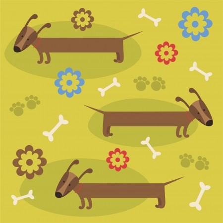 pattern with cute dog. vector illustration Stock Vector - 22588696
