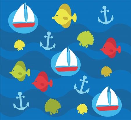childlike: cute childlike sea pattern. vector illustration Illustration