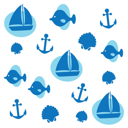 cute childlike sea pattern. vector illustration Vector