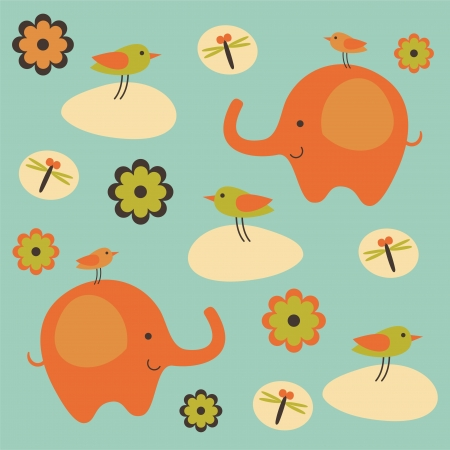 childlike pattern with cute elephant. vector illustration Vector