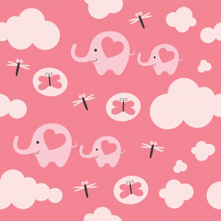 childlike: childlike pattern with cute elephant. vector illustration Illustration