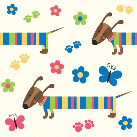 childlike pattern with dog. vector illustration Vector