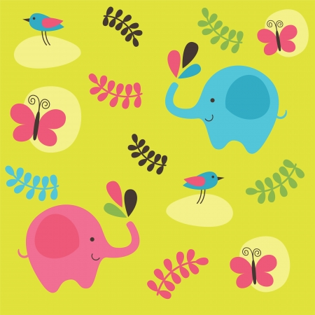 childlike pattern with cute elephant. vector illustration Stock Vector - 22588741