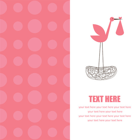 baby girl announcement card. vector illustration