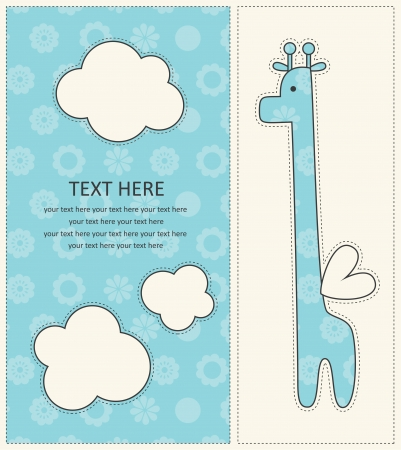 baby boy announcement card with cute giraffe. vector illustration