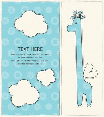 baby boy announcement card with cute giraffe. vector illustration