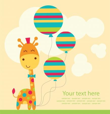 giraffe cartoon: cute greeting card. vector illustration