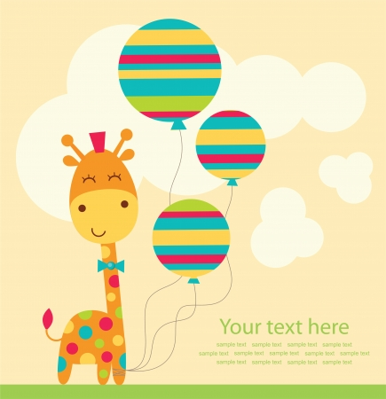 jirafa cartoon: tarjeta de felicitaci?n linda. ilustraci?n vectorial Vectores