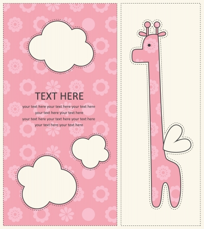baby girl announcement card with cute giraffe. vector illustration Vector