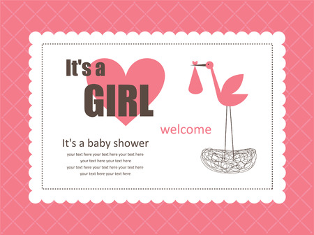 baby announcement card: baby girl announcement card. vector illustration