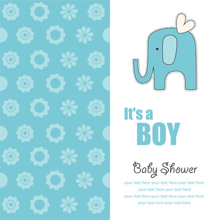 baby announcement card: baby boy announcement card with cute elephant. vector illustration
