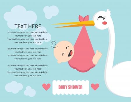 cigogne: bébé carte de douche. illustration vectorielle