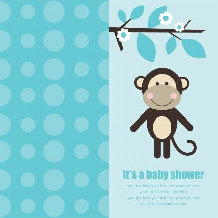 fiúk: baba zuhany kártya aranyos majom. vektoros illusztráció Illusztráció