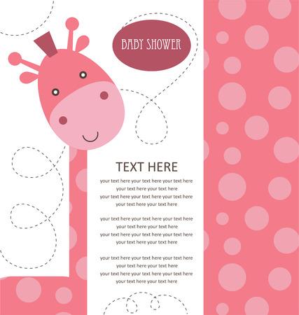 niña: Baby Shower con rosado lindo jirafa. ilustración vectorial