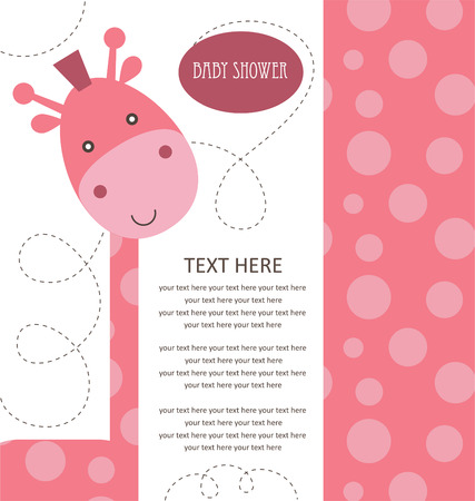 baby shower with cute pink giraffe. vector illustration