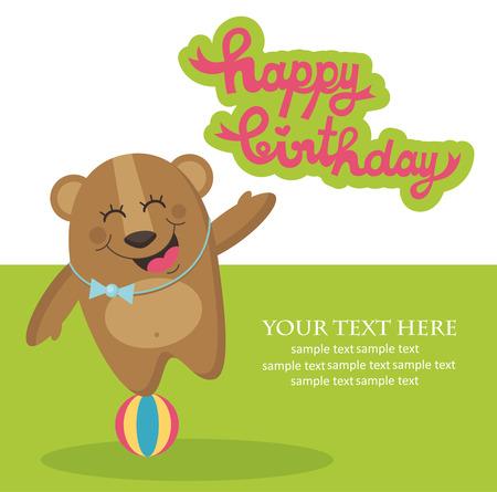 cute happy birthday card with nice bear. vector illustration Vector